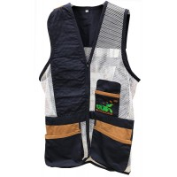 Navy & brown leather skeet vest