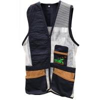 Navy & brown leather skeet vest