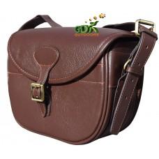 Top grain lichi leather cartridge bag, Dark brown