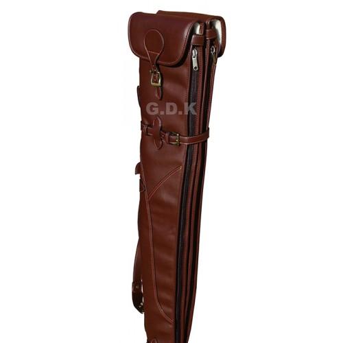 Dark brown double leather shotgun slip, detachable