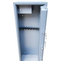 Vault locking 8 gun cabinet with side ammo safe