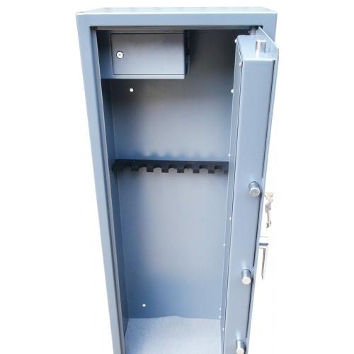 Vault locking 8 gun cabinet with side ammo safe