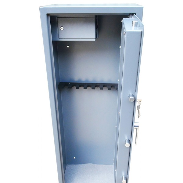 locking 8 gun cabinet with side ammo safe,