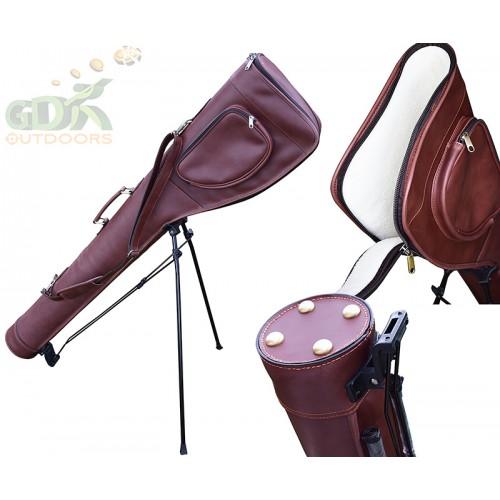 """50"""" Dark brown guardian leather slip & stand, Gun bag pro, Gun case stand"""